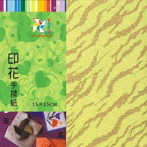 Patterns Shoyu Paper - green Straight lines, 6 inch (15 cm) square, 15 sheets, (YHZ032)